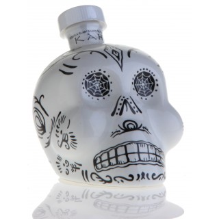 KAH Blanco Tequila 100% Agave - Weiße Totenkopf-Flasche -