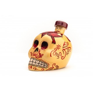 KAH Blanco Tequila 100% Agave - gelbe Totenkopf-Flasche -